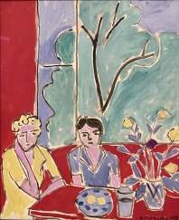 Two Girls, Red and Green Background, 1947, by Henri Matisse