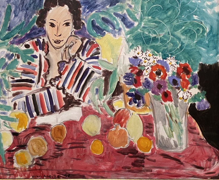Striped Robe, Fruit, and Anemones, 1940, by Henri Matisse