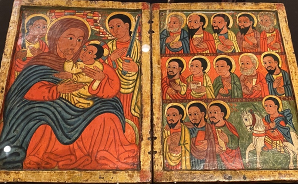 Diptych with Mary and Her Son Flanked by Archangels (Left); Apostles and a Saint (Right), Follower of Fre Seyon, Ethiopian (Tegray), late 15th century