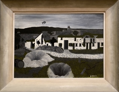 Shell Holes and Observation Balloon, Champagne Sector, c. 1931 by Horace Pippin