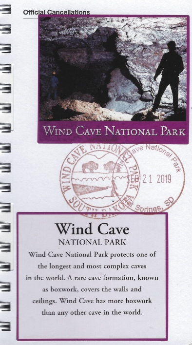 Cancellation stamp for Wind Cave National Park