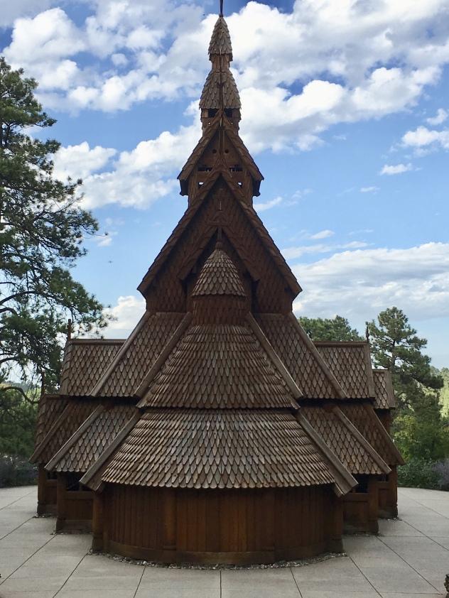 back view of Stavkirke