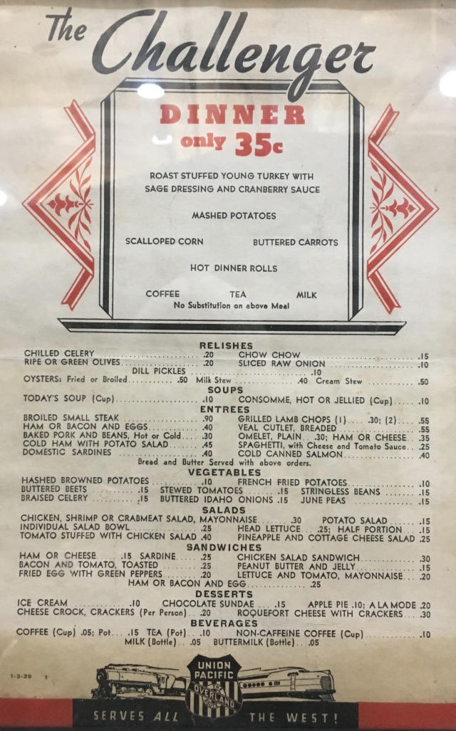dining car menu