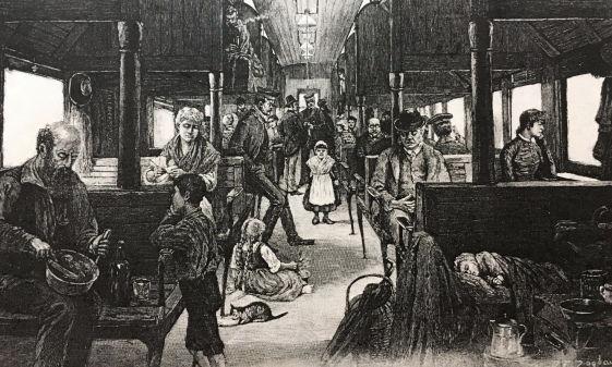 Illustration of an emigrant train published in Harper's Weekly, November 13, 1886