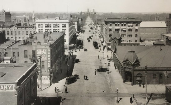 a view of downtown Cheyenne, circa 1920