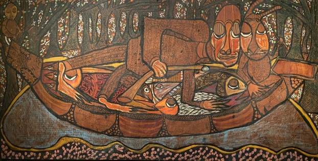 The Fisherman and the River Goddess with His Captured Multi-Colored Fishes and the River Night Guard c. 1960 by Twins Seven-Seven, Nigeria