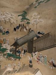 Autumn at Asakusa: Viewing Cherry Blossoms at Ueno Park by Hishikawa Moronobu (1618-1694)