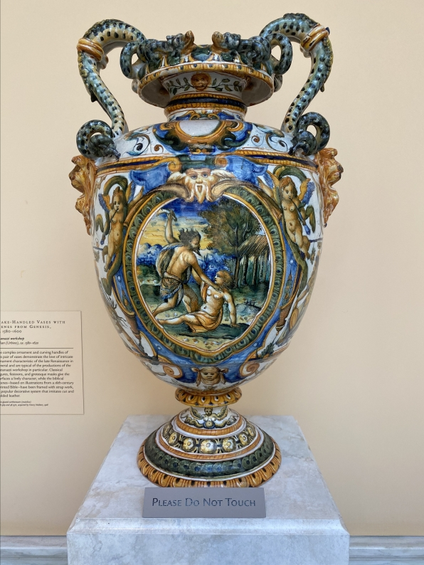Snake-Handed Vases with Scenes from Genesis, ca. 1580-1600, Patanazzi workshop