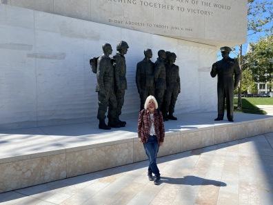 me wearing mask at Dwight D. Eisenhower Memorial