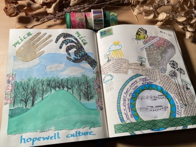 art journal spreads for Road Trip to Nowhere