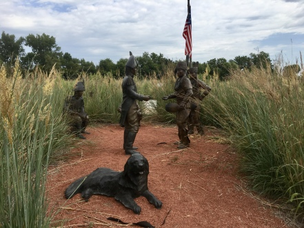 """""""First Council"""" sculpture at Fort Atkinson State Historical Park"""