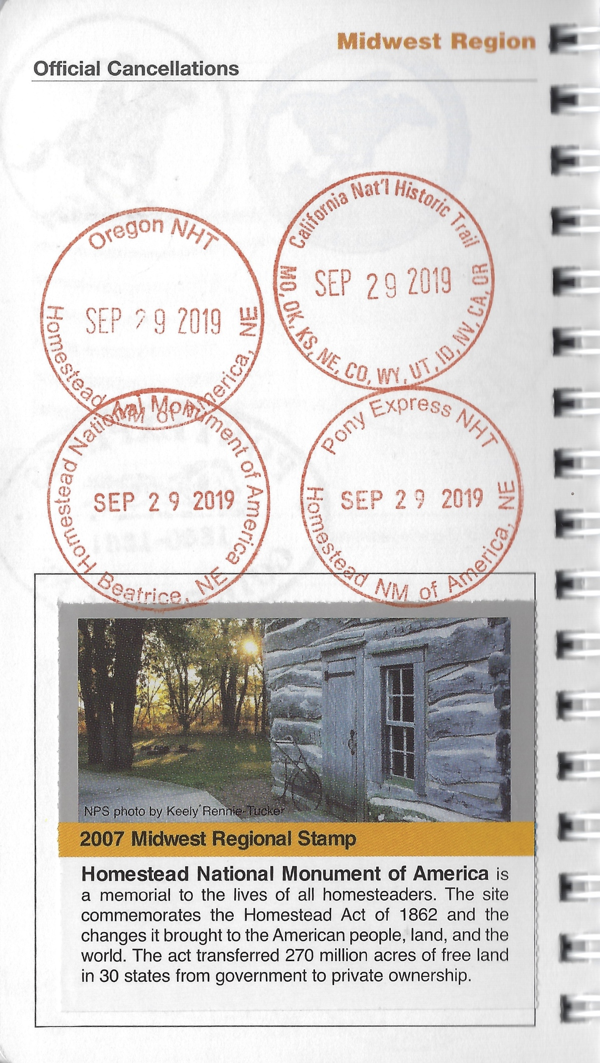 cancellation stamp for Homestead National Monument
