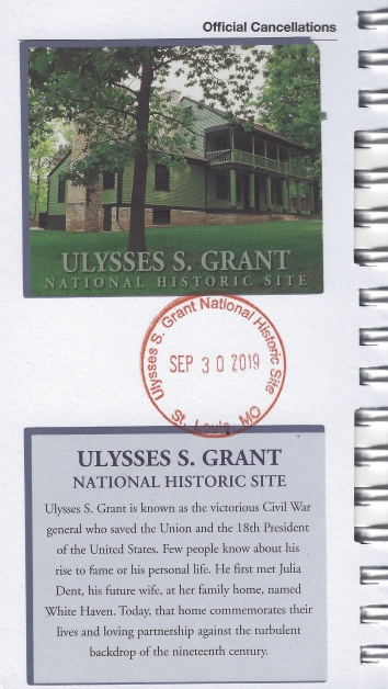 cancellation stampe for Ulysses S. Grant National Historic Site