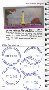 cancellation stamp for Andrew Johnson National Historic Site