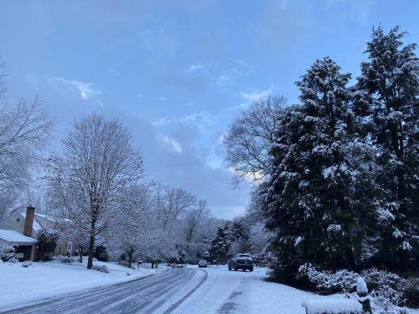 our neighborhood in snow