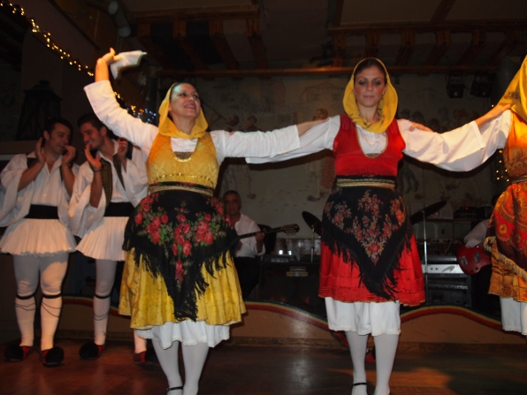 Greek folk dancers