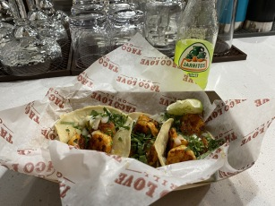 three shrimp tacos at Taco Love Grill